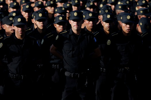 Agents of the Guatemalan National Police at their graduation.