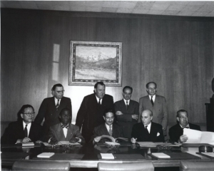 Raphael Lemkin among the representatives of four states who ratified the Genocide Convention (standing row, first from the right)